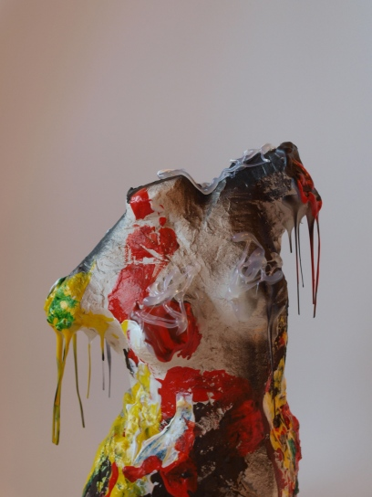 TORS, clay, acrylic & rubber, 21cm, 2014 SOLD