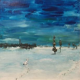 BLUE WHITE, acrylic, 2016 (30x30cm)